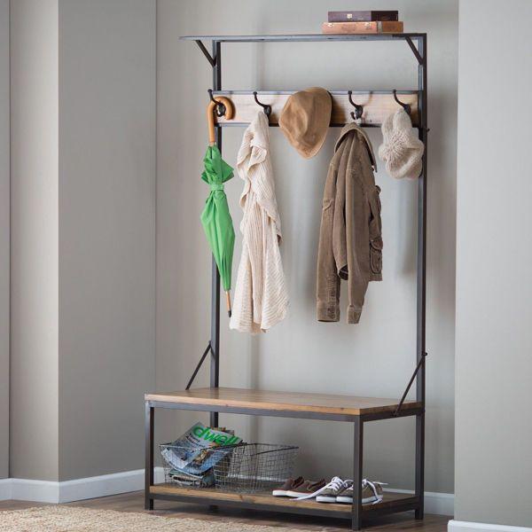 Wood Hall Tree Metal Entryway Coat Rack Stand Home Storage Bench