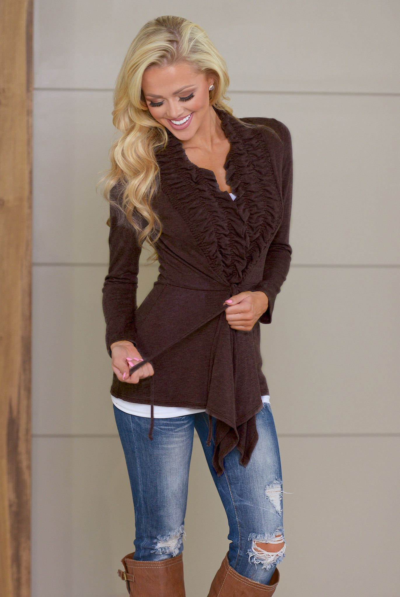 Begin Again Ruffle Front Cardigan - Brown from Closet Candy ...