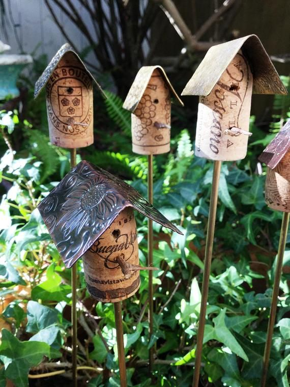 Best Cork Birdhouse Garden Stakes With Metal Roof Cork Etsy 640 x 480