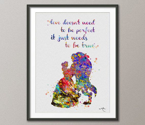 Beauty And The Beast Quote Belle Disney Princess Watercolor Nursery