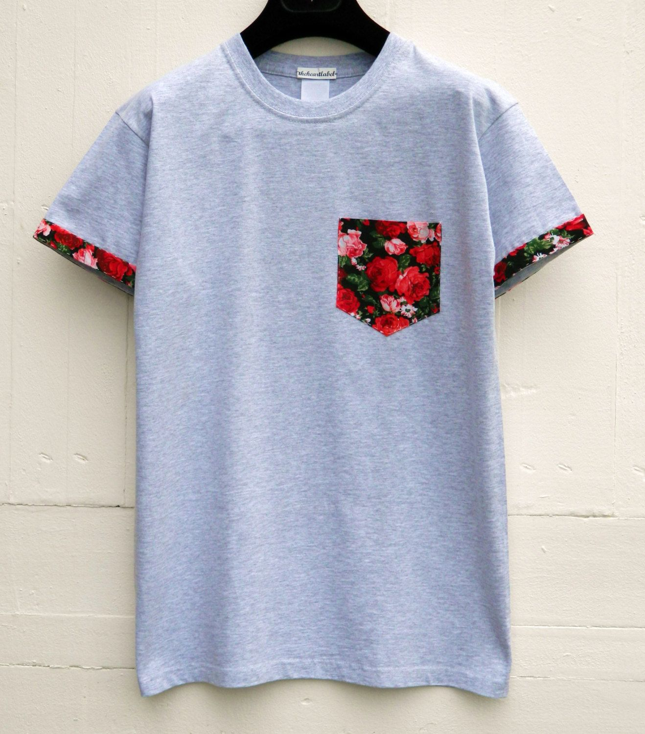 Men 39 s roses floral pattern with sleeves grey pocket t for Custom t shirt with pocket
