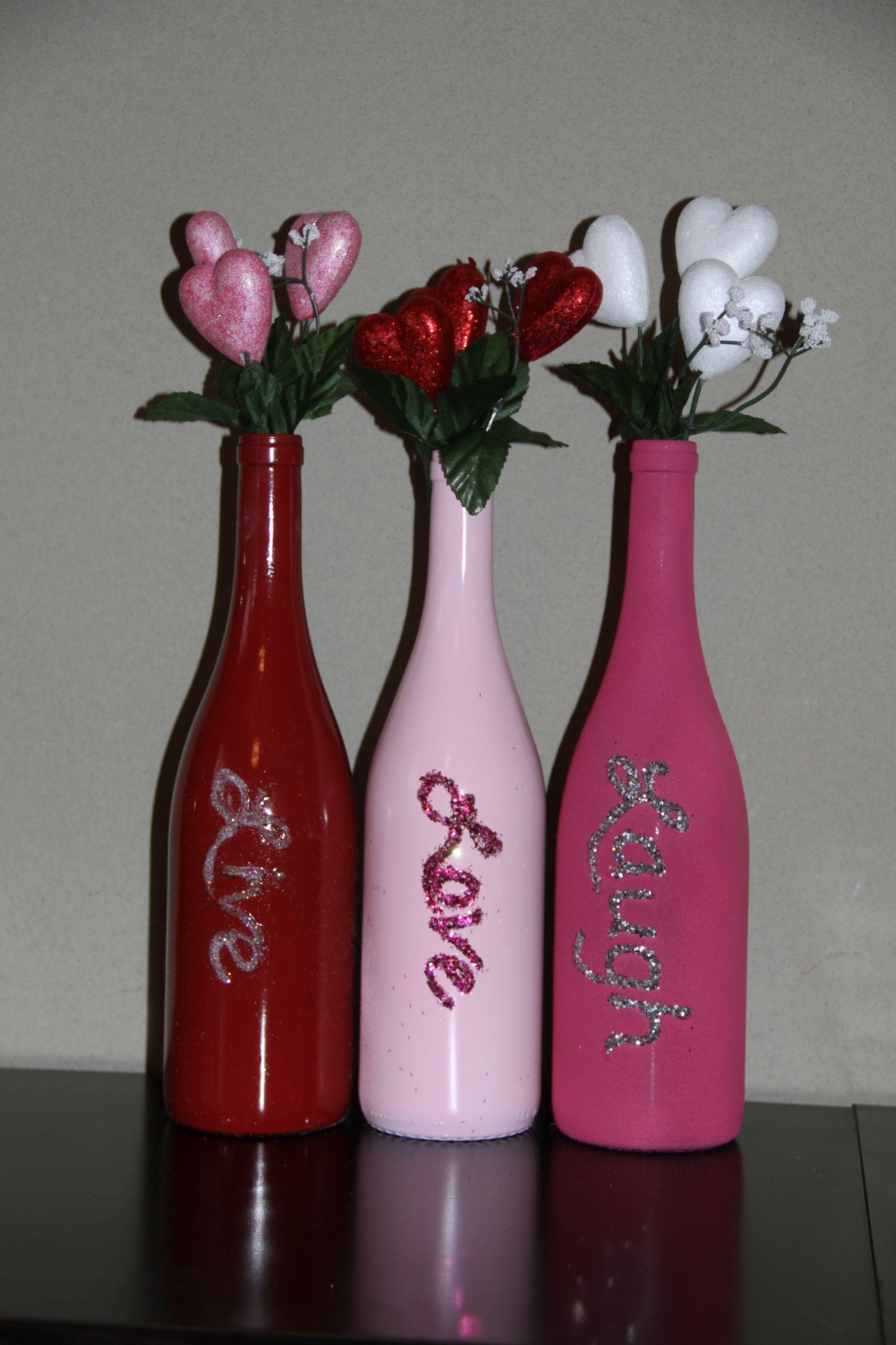 Valentine Bottle Glass Bottle Crafts Wine Bottle Crafts Bottles Decoration