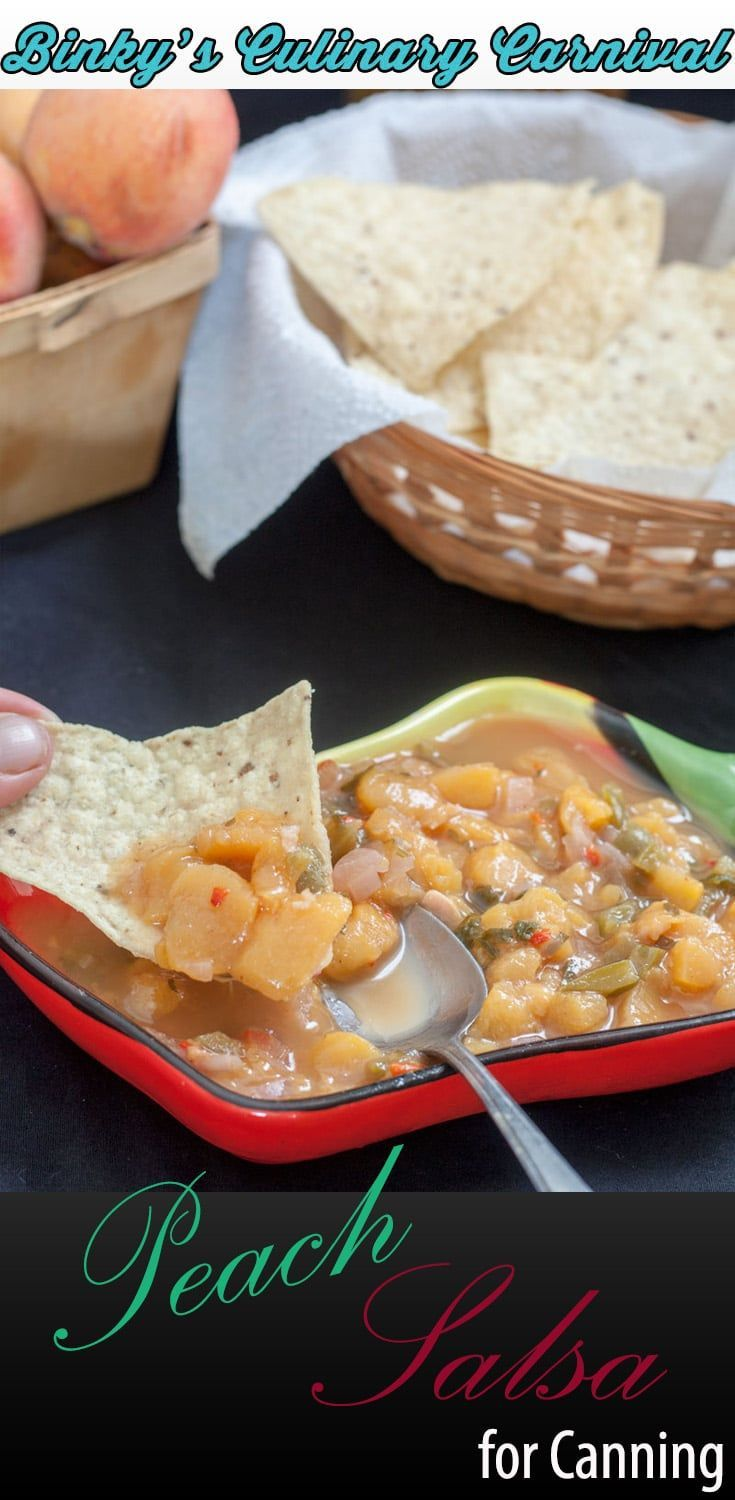 Peach Salsa is an easy delicious condiment for just about everything! #peach #peaches, #salsa #homepreserving #canning #preserving #binkysculinarycarnival #ifbcx via @binkysculinarycarnival
