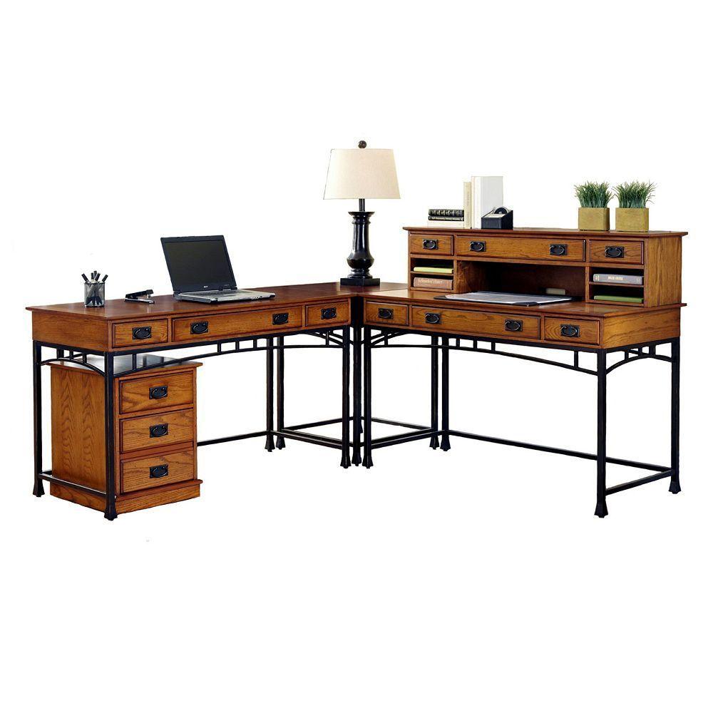 Modern craftsman lshaped desk hutch u mobile file cart set brown