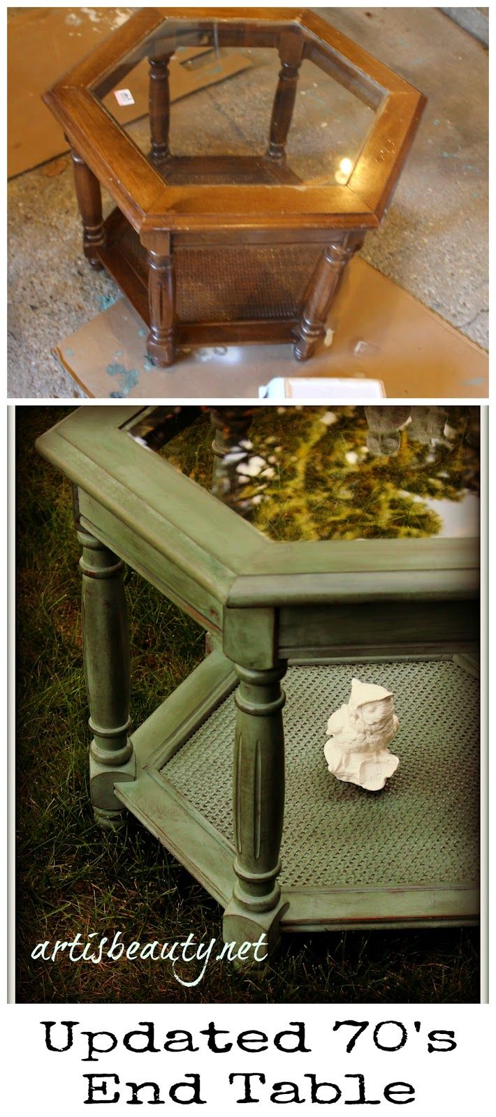Outdated 70 S Hexagon Table Redo Furniture Makeover 70s Furniture Furniture Restoration [ 1600 x 710 Pixel ]
