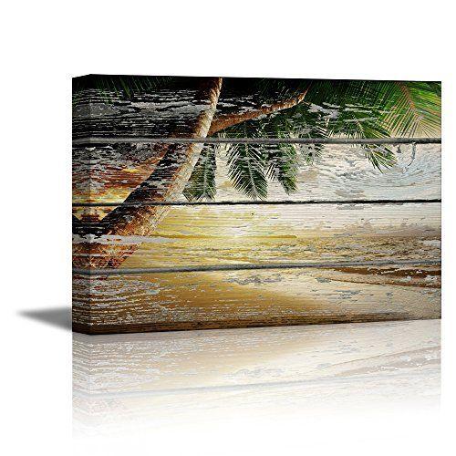 Wieco Art Romantic Beach Theme 4 Piece Modern Giclee Artwork Sea