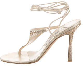 Jimmy Choo Glittered Round-Toe Sandals