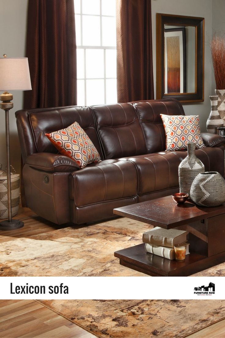 Lexicon reclining sofa is made of breathable easy clean leathaire in chocolate brown