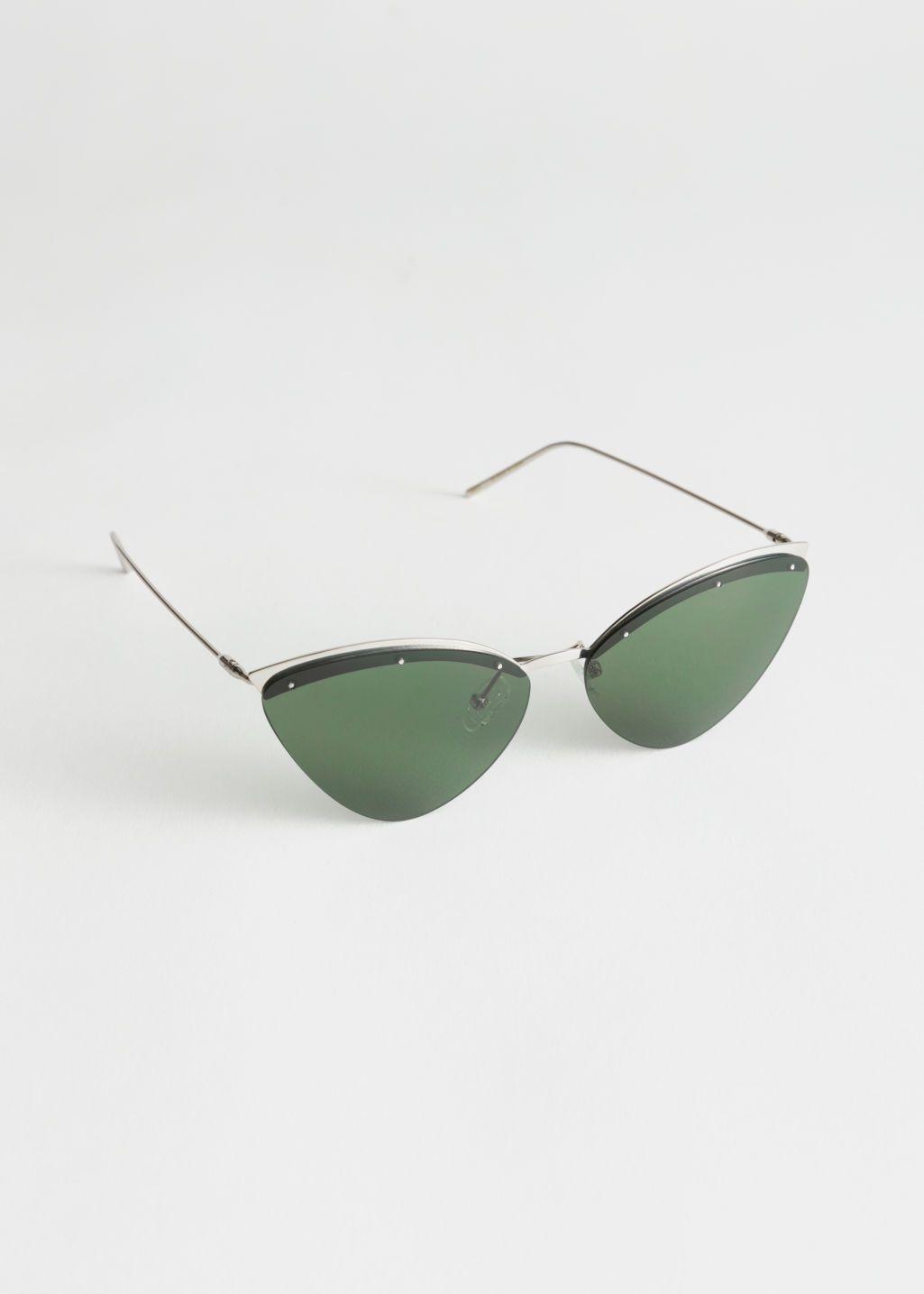 9b2696293e2afe Frameless Cat Eye Sunglasses - Silver - Sunglasses -   Other Stories
