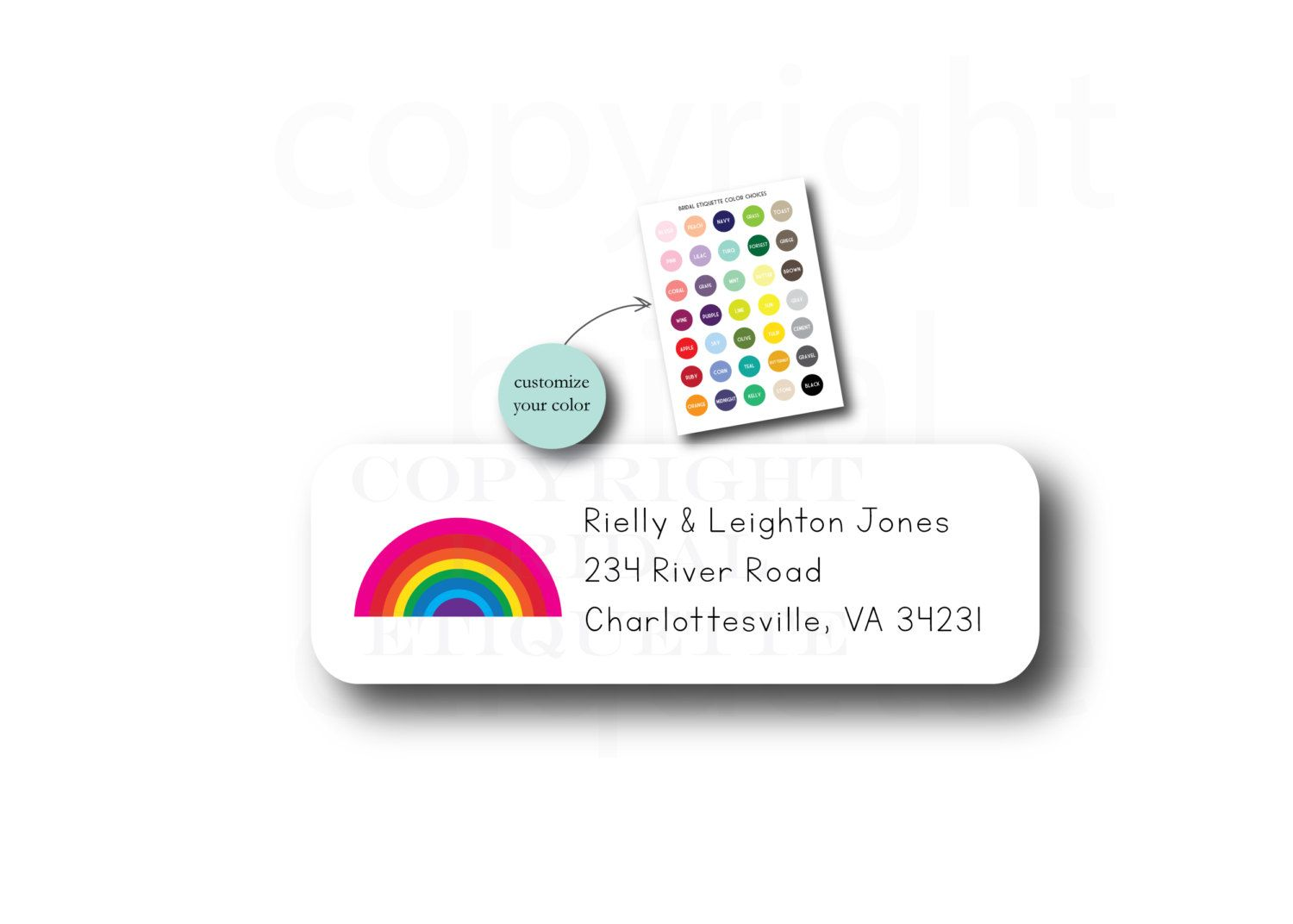 rainbow address labels