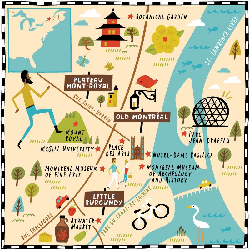 Illustrated Map Of Montreal For AAA Journeys Magazine By Nate - Montreal canada map