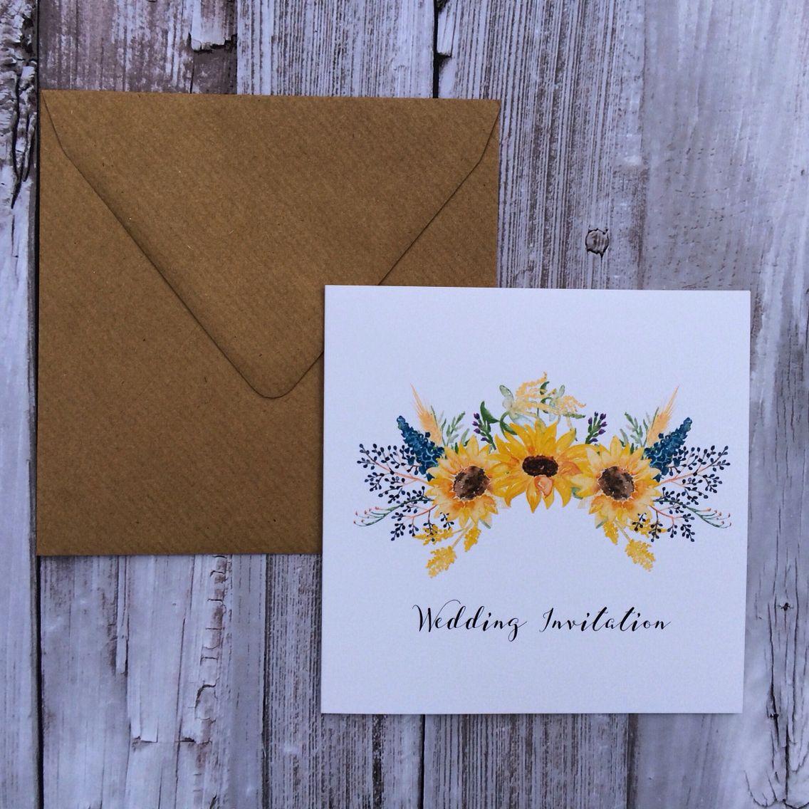 sunflower wedding invitation www.beadazzledesigns