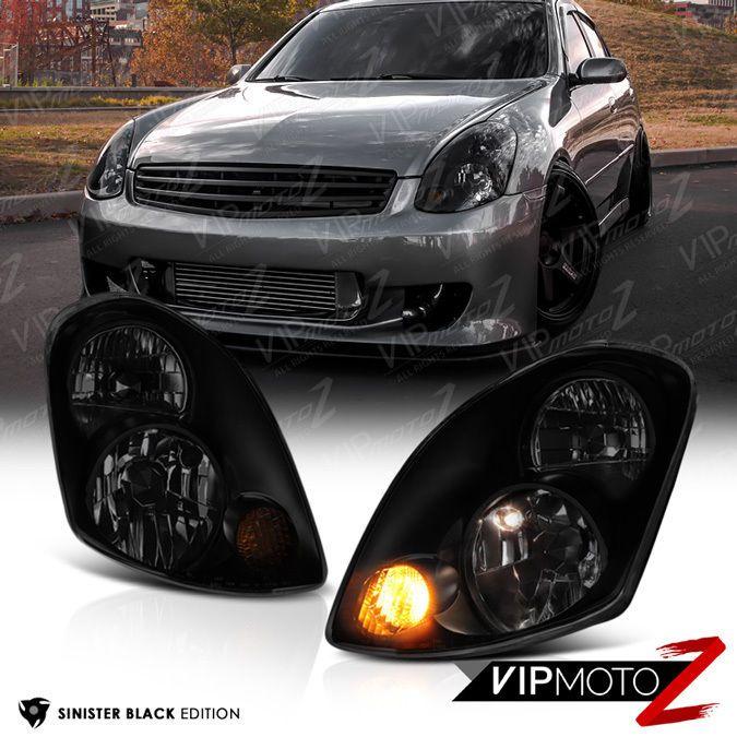 For 2003 2004 G35 Sedan 4d Skyline Sinister Black Smoke Headlights Left Right Vipmotoz
