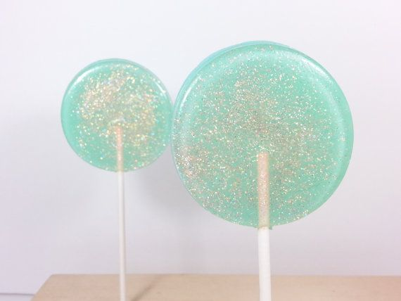 Seafoam Green And Coral Wedding Favors Lollipops Mint Set Of Six