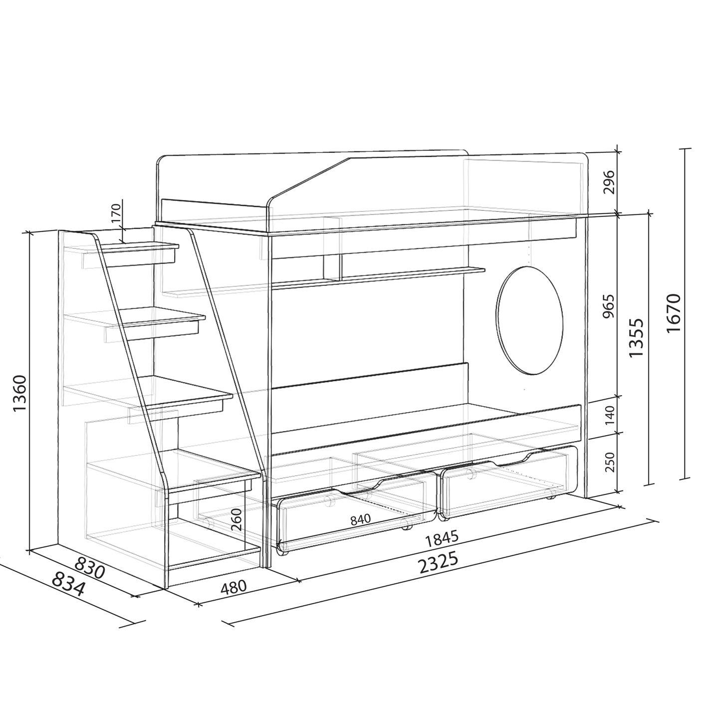 схема двухъярусной кровати из дсп
