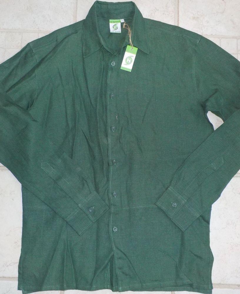 HEMPEST 100% Hemp Button Down Men's Shirt Green Large NWT