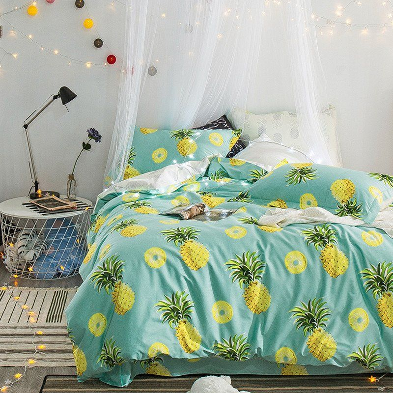 Pineapple Slice 100% Cotton Duvet Bedding 4 Piece Set