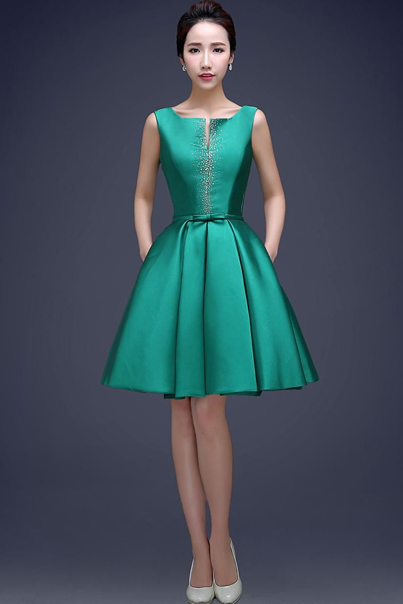 Cheap Green Fashion Scoop Neck Ball Gown Cocktail Dress With Beads ...