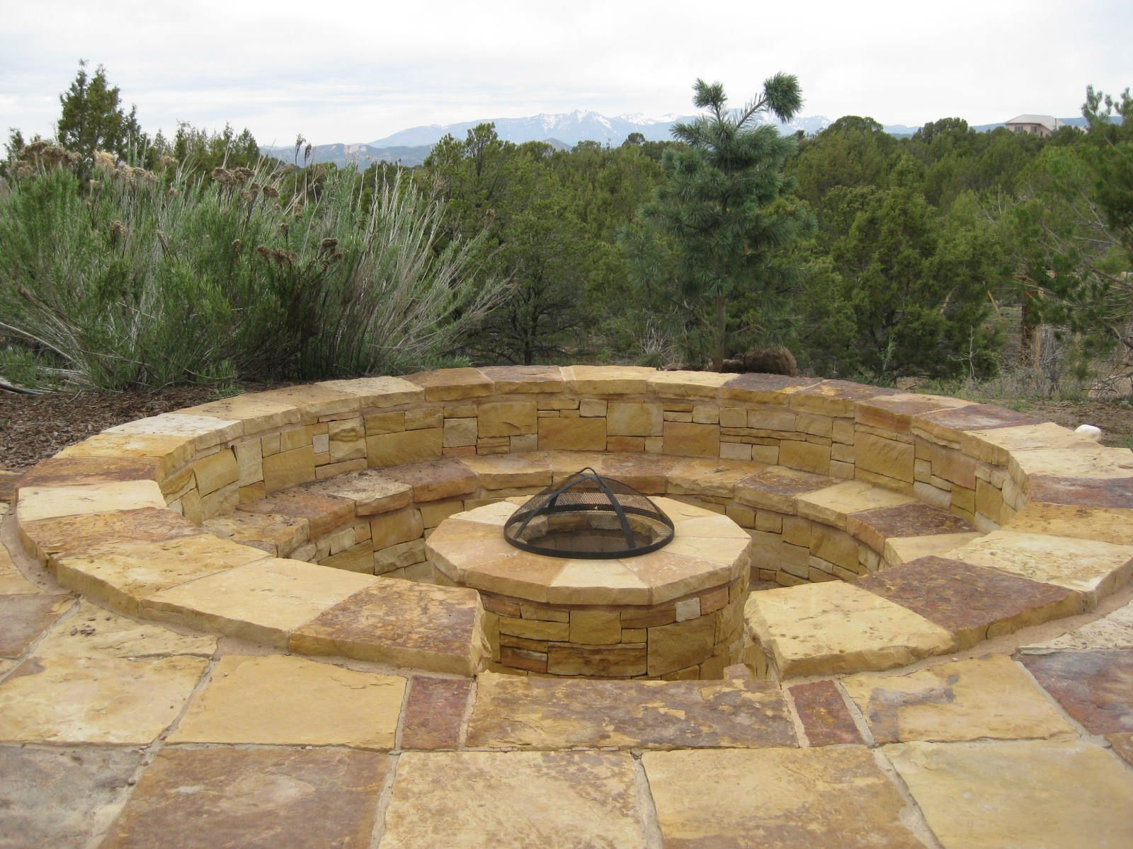 Sunken fire pit seating patio space pinterest for Sunken seating
