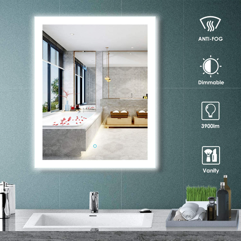 Amazon Com Aoorify 24 X 30 Inch Led Lighted Wall Mirror Bathroom Vanity Mirror With Light 5000k Day Lighted Wall Mirror Mirror Wall Bathroom Bathroom Mirror [ 1000 x 1000 Pixel ]