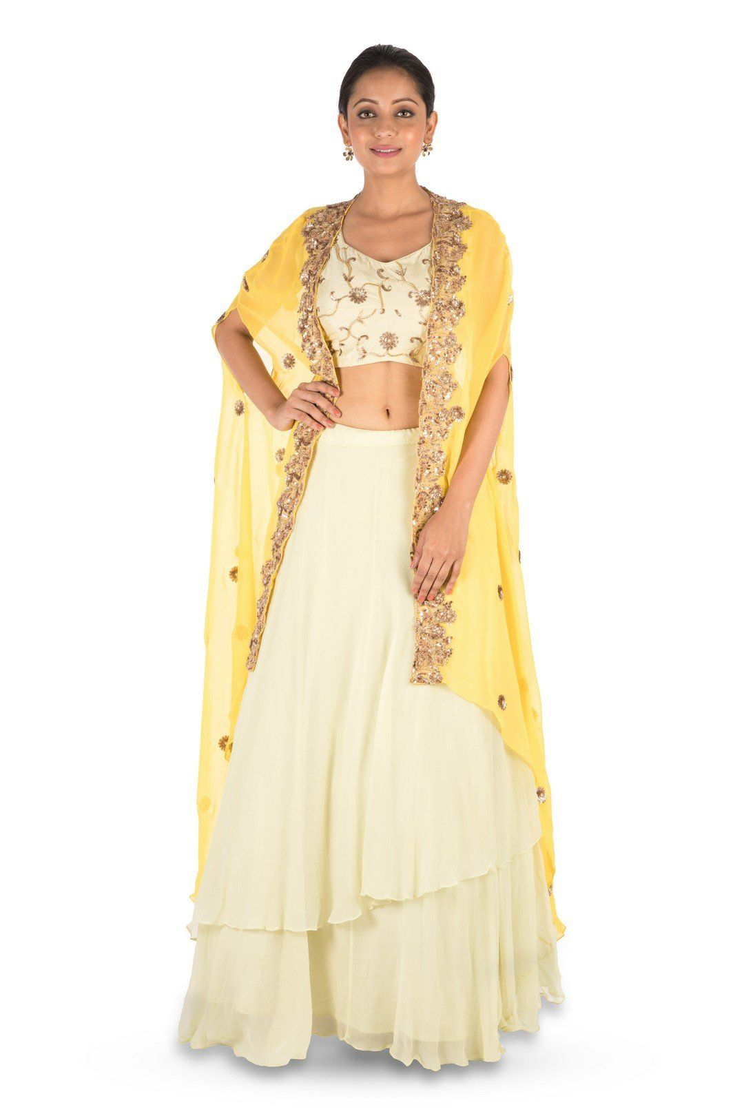 a5222f6d5f2 Saris and Things Hand Embroidered Bright Yellow And Light Lemon Kaftan  Jacket Lehenga Set