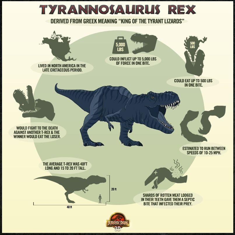 Jurassic Park 3D - T-Rex Info Poster - Jurassic Park 4 ...