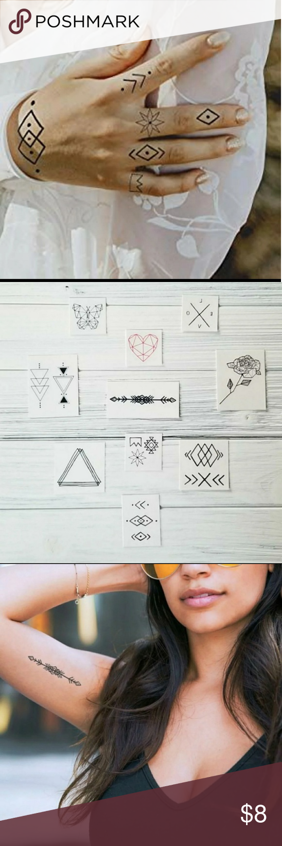 INKED ByDani Geometric Temporary Tattoos Versatile