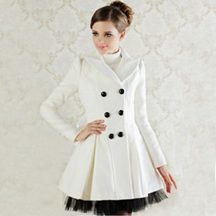 White Wool Dress Coats Women Double Breasted Peacoat Elegant Swing ...