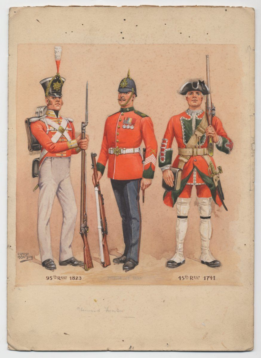 British Sherwood Foresters L To R Private 95th Regient Of Foot 1823 Private Sherwood Foresters C 19 British Army Uniform British Uniforms Military History