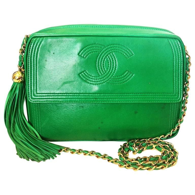 5f740bc89cf6 1990s vintage CHANEL green lamb leather camera bag style chain shoulder bag.