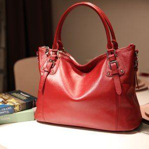 5895538843c6 Amazon.com: Heshe Womens Genuinne Leather Handbags Tote Top Handle Bag  Shoulder Bag for Women Crossbody Bags Ladies Designer Purse (Medium,  Black-NEW): ...