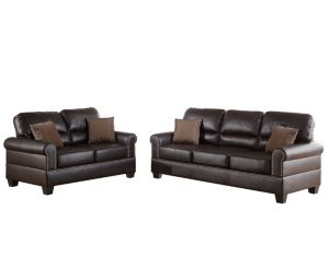 Bobkona Shelton Bonded Leather 2 Piece Sofa And Loveseat Set Brown Love Seat Bonded Leather