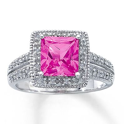 10k White Gold Diamond Lab Created Pink Sapphire Ring Pink Engagement Ring Pink Sapphire Jewelry Pink Sapphire