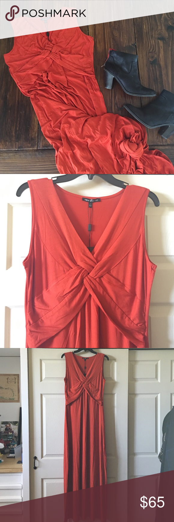 Cable & Gauge maxi dress Cable & Gauge maxi dress. Size large. New with tags. So soft and stretchy. Beautiful burnt orange color is perfect for fall. Cross cross woven design at chest. So cute under a suede biker jacket! Cable & Gauge Dresses Maxi
