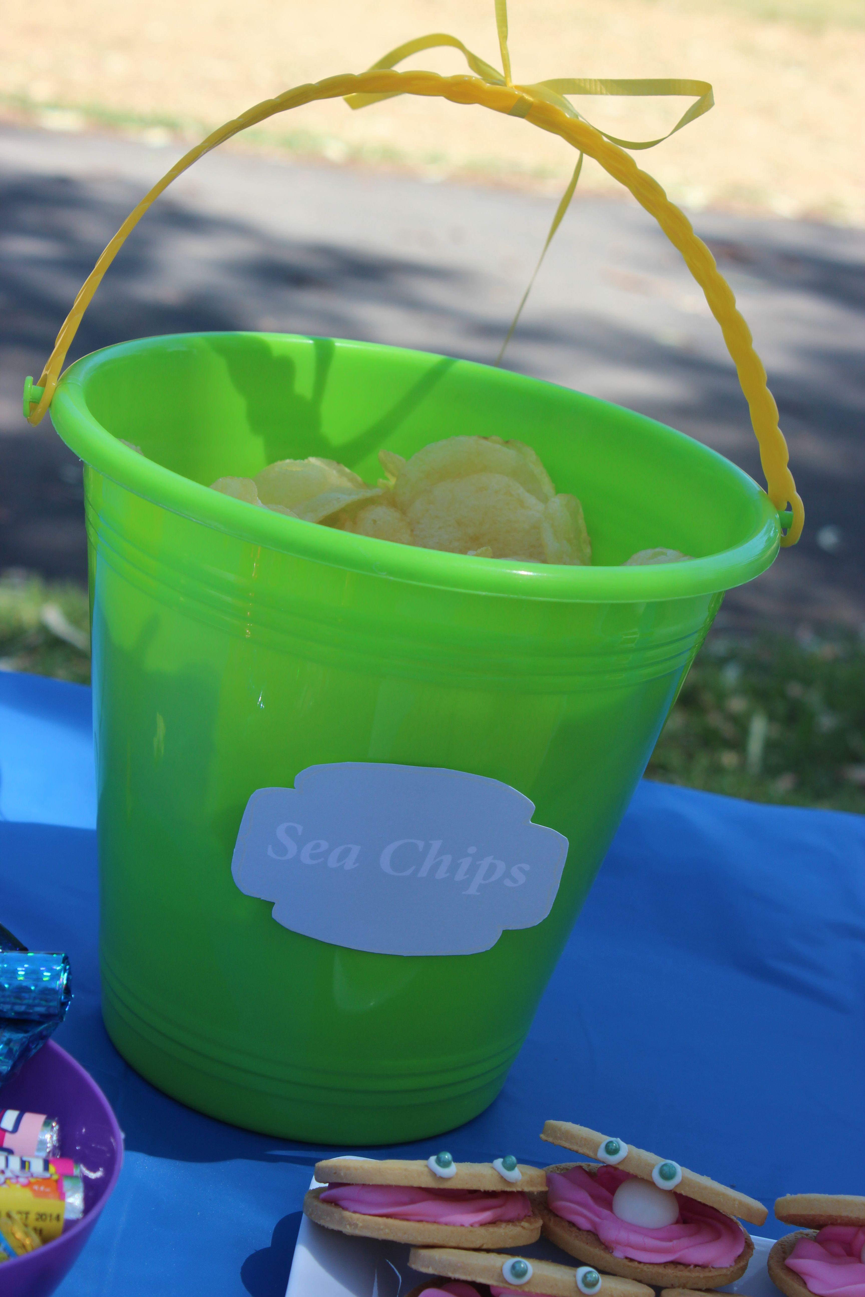 Play on words plain chips cheap kmart buckets add to the