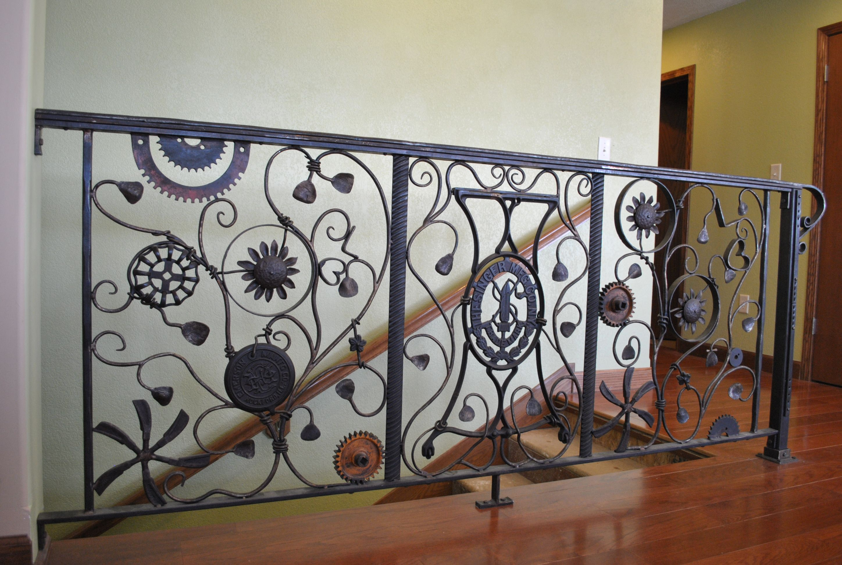 Staircase Railing Made From Mild Steel And Found Farm Implements