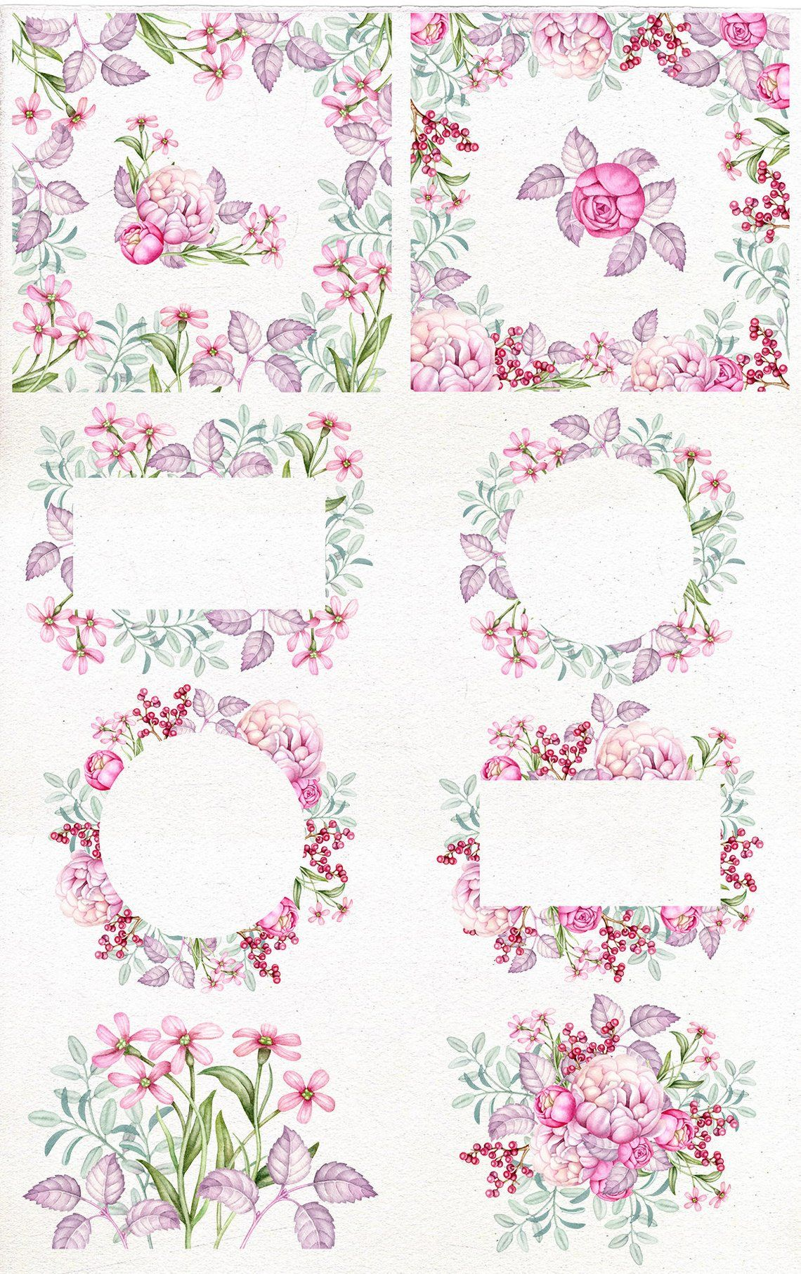 Watercolor Floral Frame Clip Art Digital Watercolor Clipart