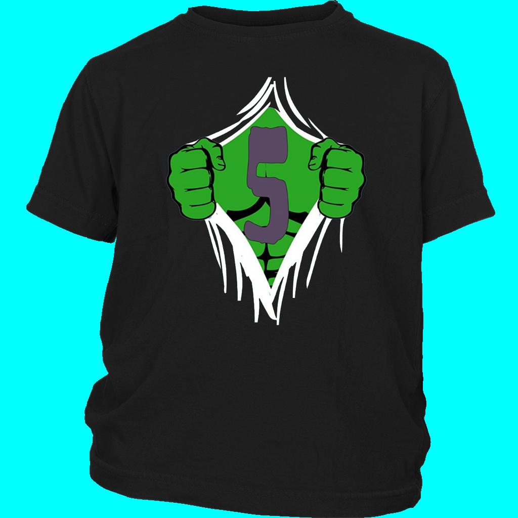 Green Man Chest Superhero Birthday T Shirt For 5 Year Old Boys