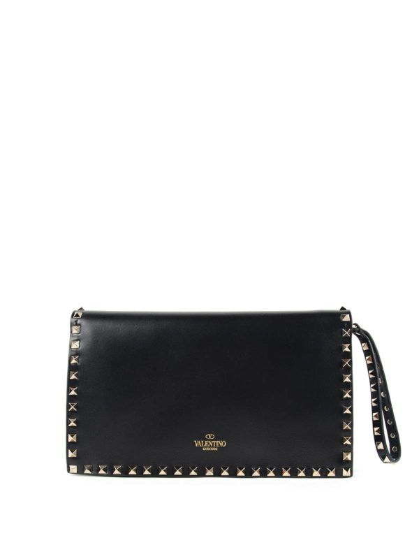 becf762cd7f VALENTINO GARAVANI - Rockstud clutch with hand holder | Bags ...
