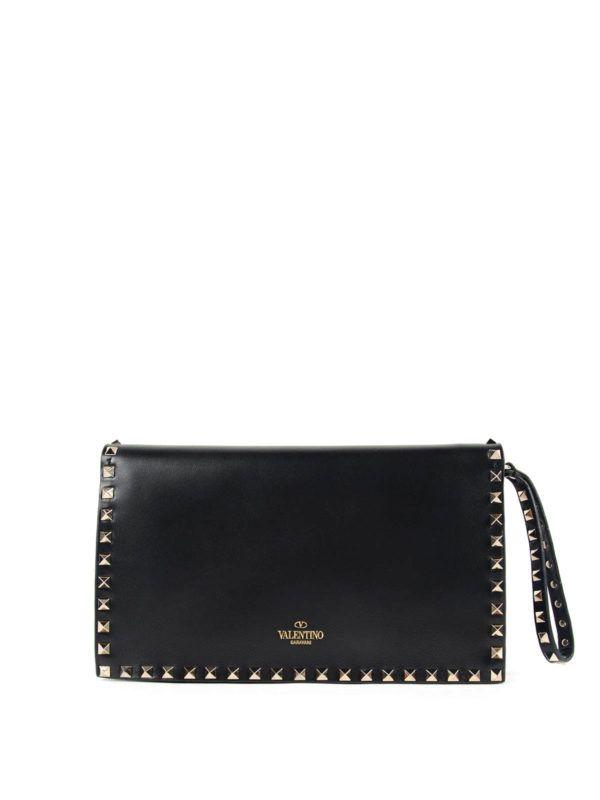 9adb1cfe73 VALENTINO GARAVANI - Rockstud clutch with hand holder | Bags ...