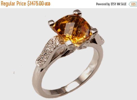 CHRISTMAS SALE Citrine Diamond Ring by GevaniJewelry on Etsy s