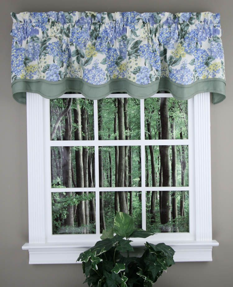 Hydrangea Is A Medium Scaled Hydrangea Pattern Get The Custom Look At A Discount Price Wonderful Layered Vala Swag Curtains Curtains Country Kitchen Curtains