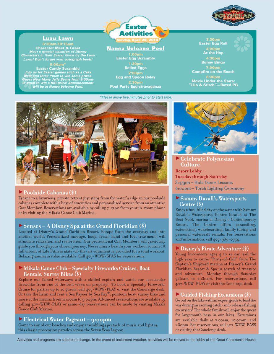 Disney World Resort Recreation Calendar February 2019 Polynesian Village Resort Recreation Activities Guide | Disney