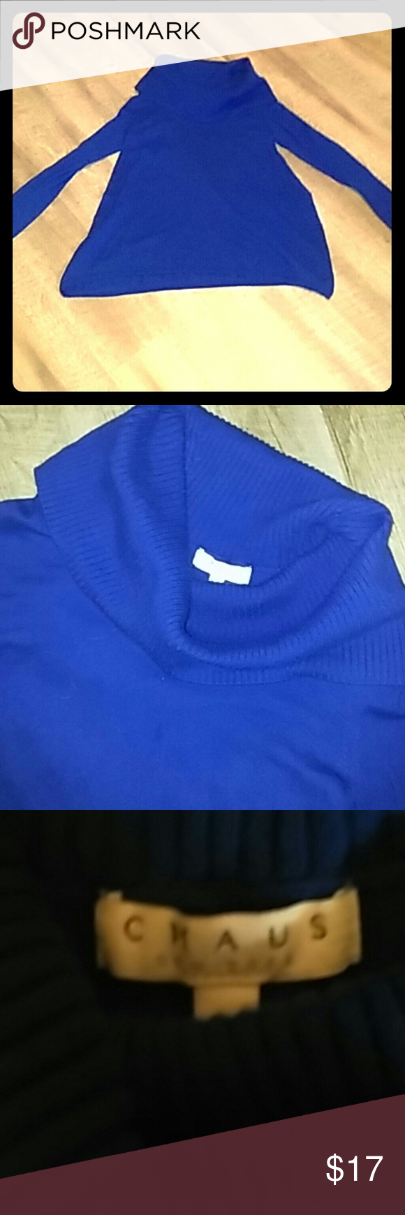 Chaus New York cow neck sweater | Cow, Cowl neck and Royal blue