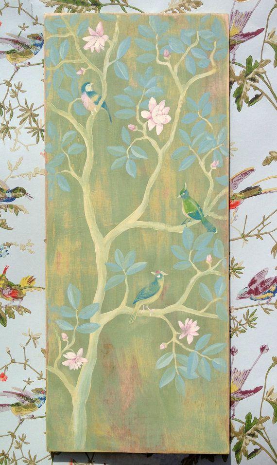 Chinoiserie bedroom wall art home decor bird por theheartwood £50 00