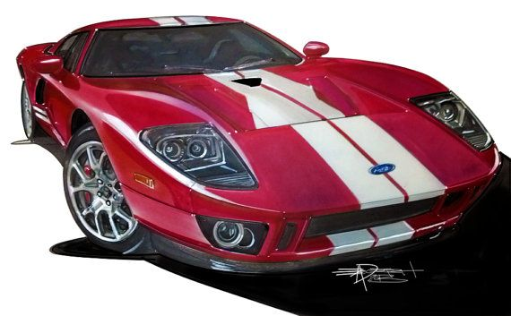 Ford Gt Drawing Hand Drawn Fully Detailed Full Color By Juxtarosed