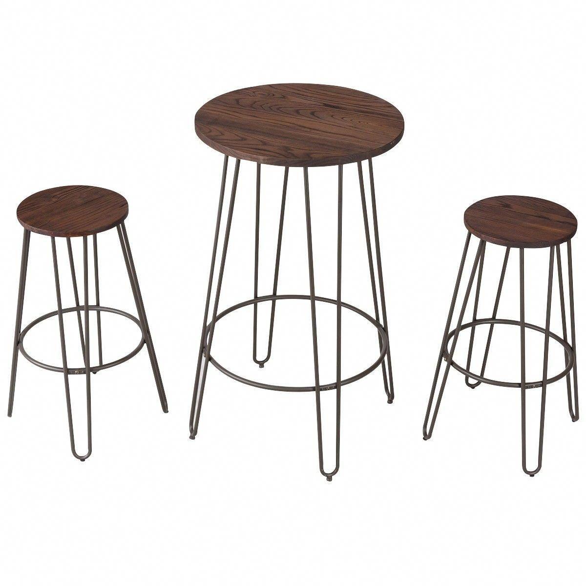 3 Pcs Wood Round Bar Table Bistro Stool Set Round Bar Table Bar