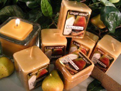 Spiced Pear - Set of Six Square Scented Votive Scented Candle - 3 Ounces Each