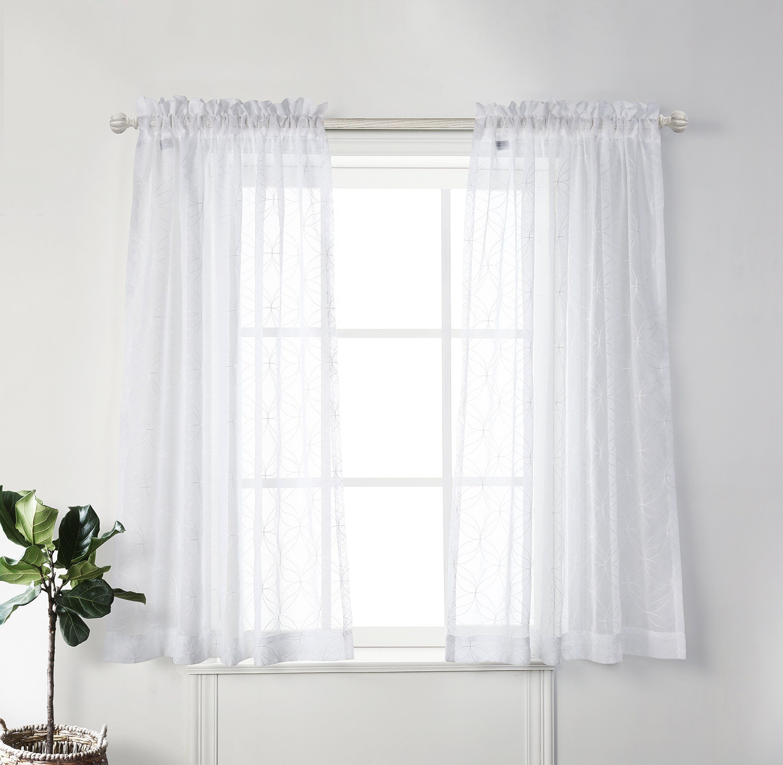 Mysky home sheer curtains for living room by embroidered white short sheers curtain for bedroom white 52 inch width by 63 inch length