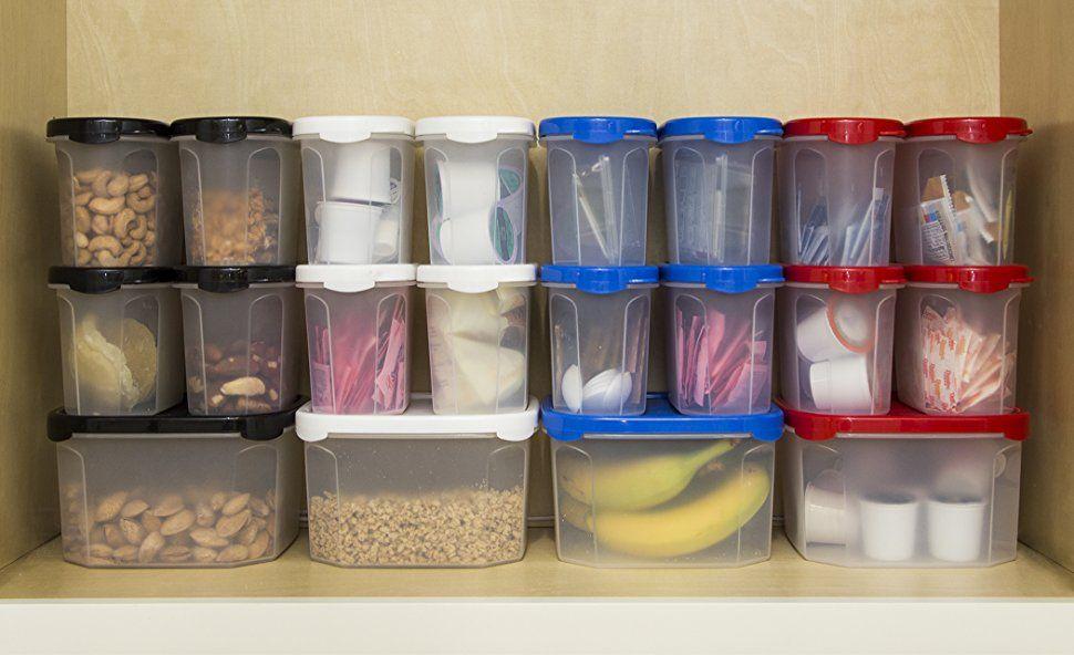 Amazon Com Bino 10 Piece Airtight Stackable Kitchen Storage Container Pantry Set Black Ki Food Storage Container Set Food Storage Kitchen Storage Containers